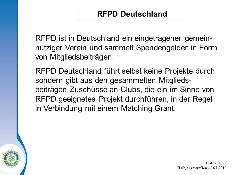 RFPD Deutschland RFPD ist in Deutschland ein eingetragener gemein-nütziger Verein und sammelt Spendengelder in Form von Mitgliedsbeiträgen.