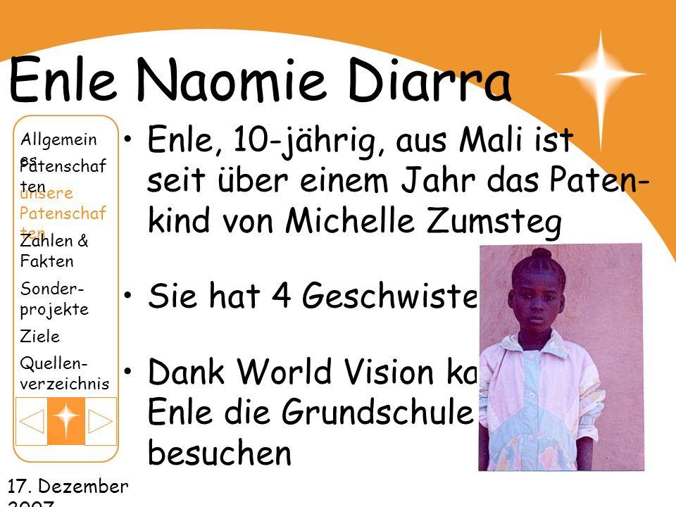 Enle Naomie DiarraEnle, 10-jährig, aus Mali ist seit über einem Jahr das Paten- kind von Michelle Zumsteg.