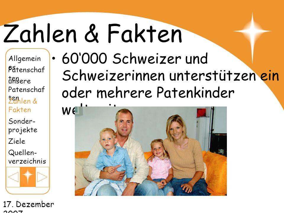 Zahlen & Fakten 60'000 Schweizer und Schweizerinnen unterstützen ein oder mehrere Patenkinder weltweit.