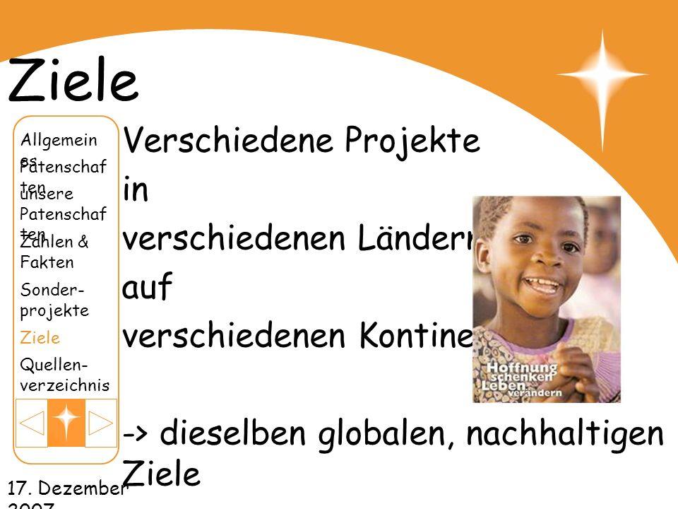Ziele Verschiedene Projekte in verschiedenen Ländern, auf