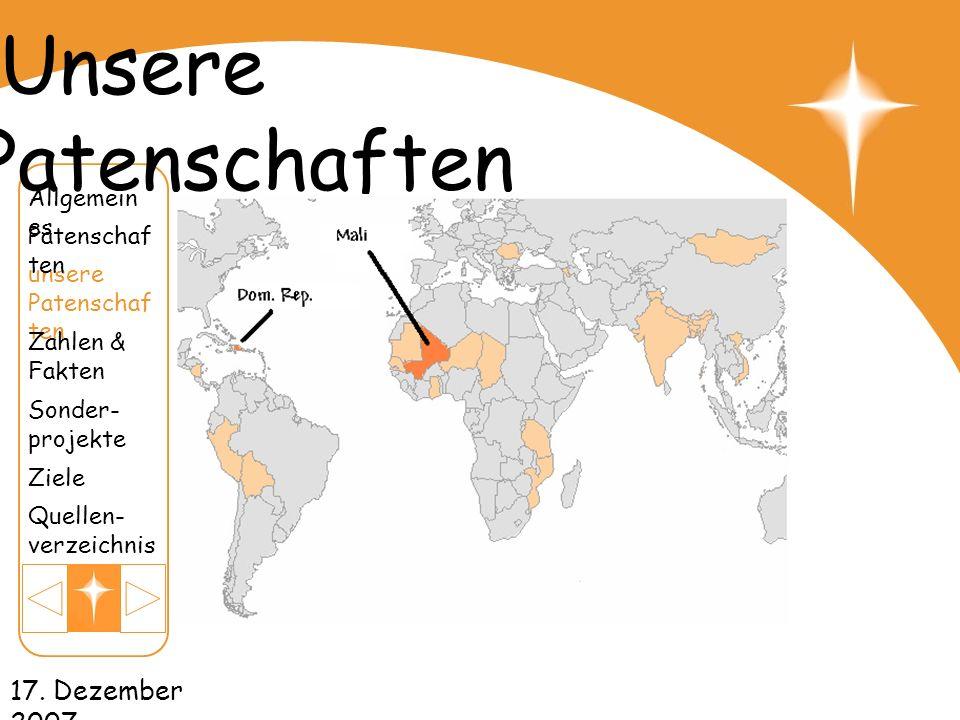 Unsere Patenschaften 17. Dezember 2007 Allgemeines Patenschaften