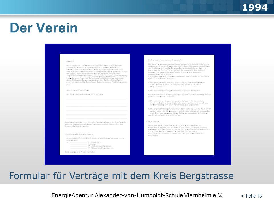 Der Verein 1994 Formular für Verträge mit dem Kreis Bergstrasse