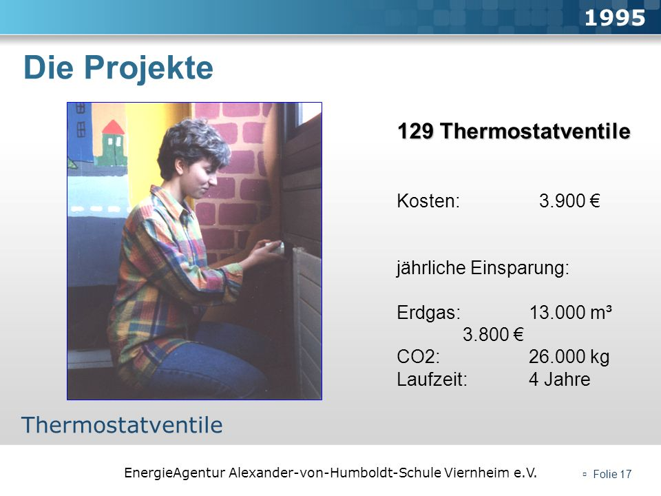 Die Projekte 1995 129 Thermostatventile Thermostatventile