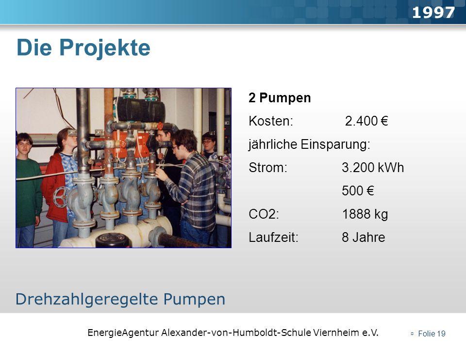 Die Projekte 1997 Drehzahlgeregelte Pumpen 2 Pumpen Kosten: 2.400 €
