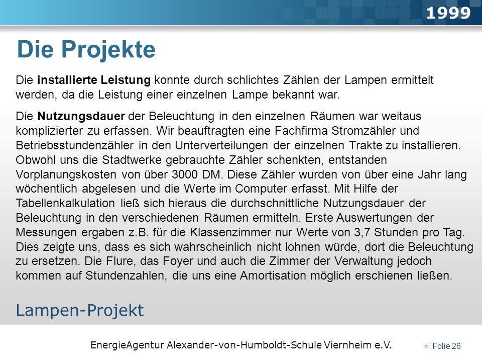 Die Projekte 1999 Lampen-Projekt