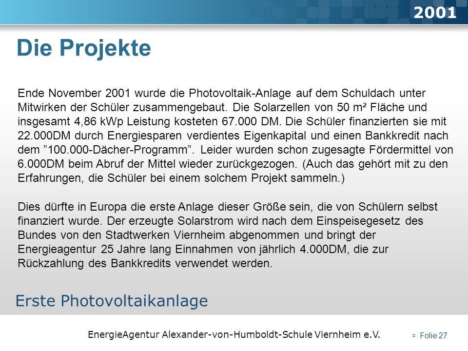 Die Projekte 2001 Erste Photovoltaikanlage