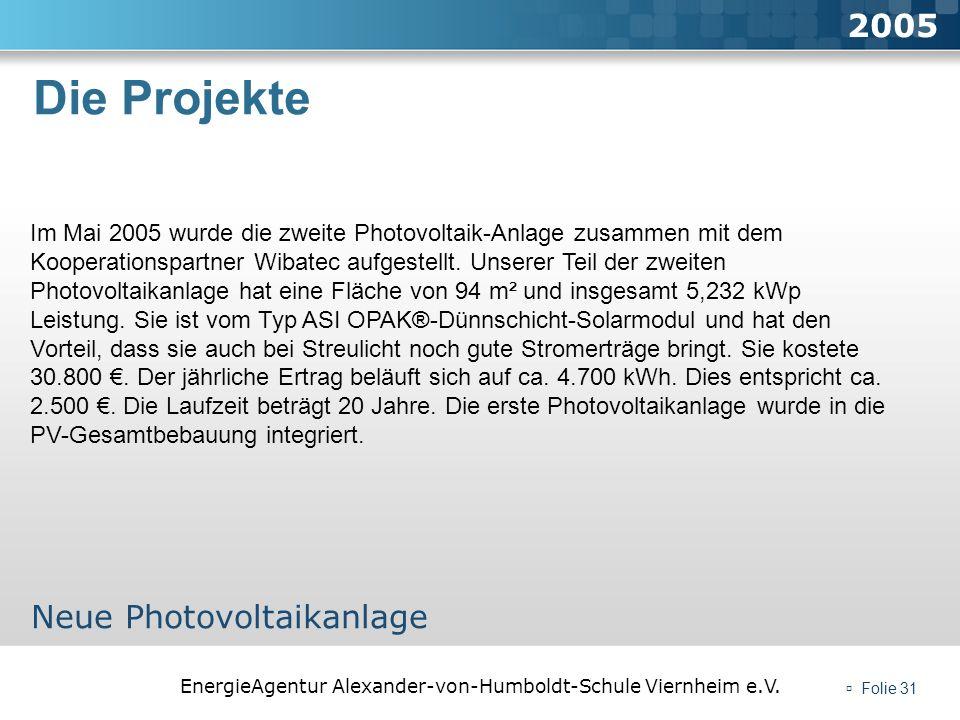 Die Projekte 2005 Neue Photovoltaikanlage