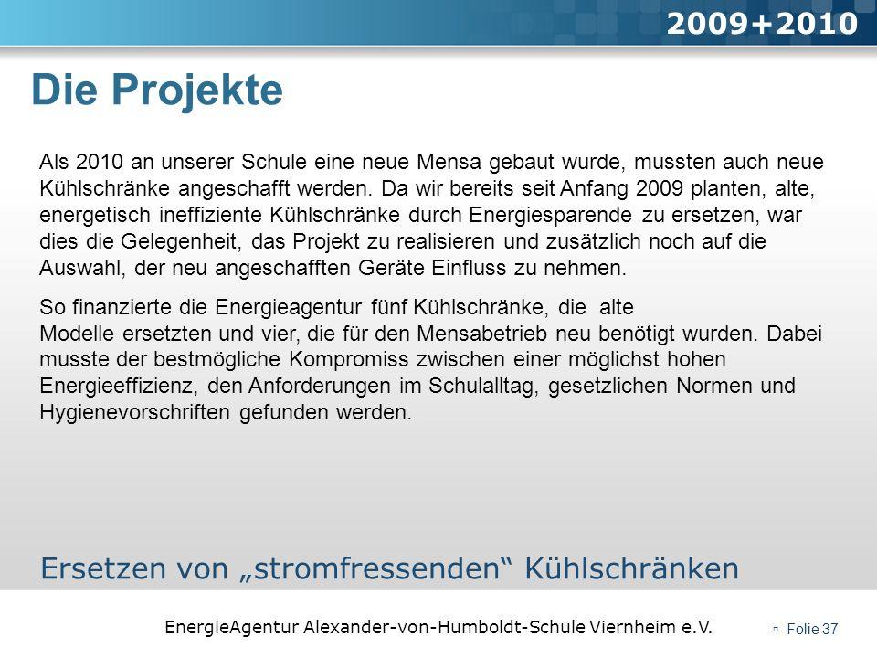 """Die Projekte 2009+2010 Ersetzen von """"stromfressenden Kühlschränken"""