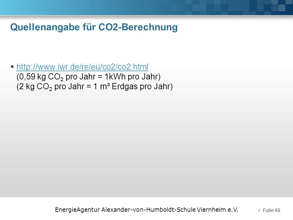 Quellenangabe für CO2-Berechnung