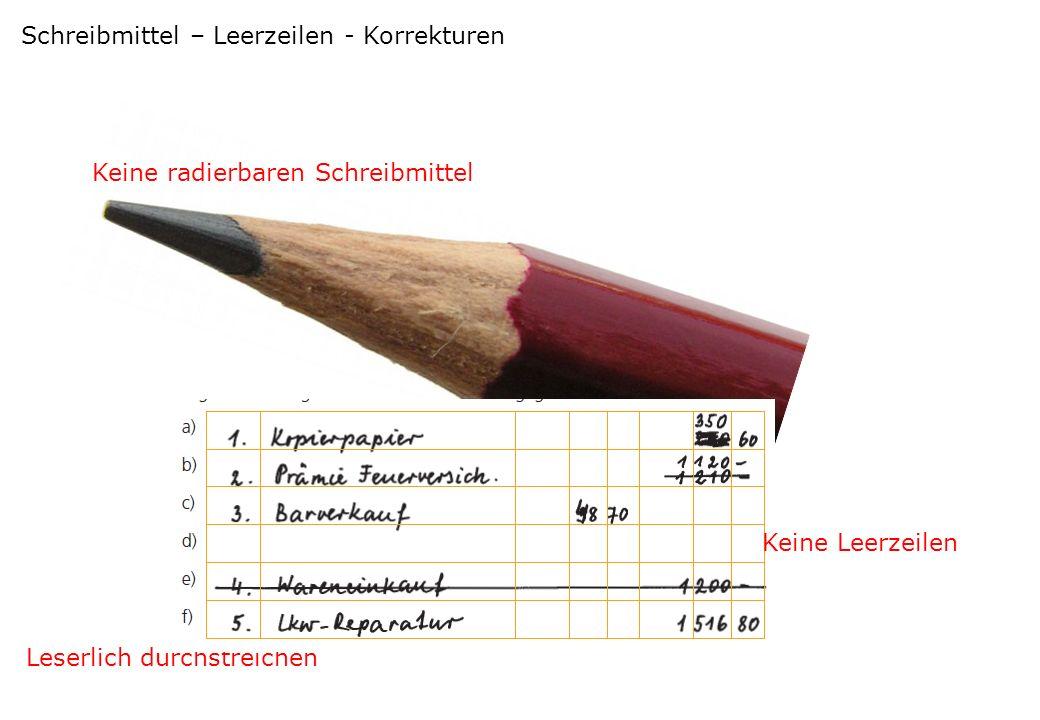 Schreibmittel – Leerzeilen - Korrekturen