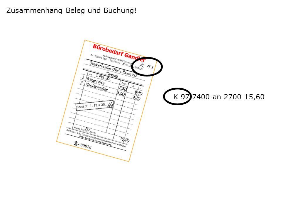 Zusammenhang Beleg und Buchung!
