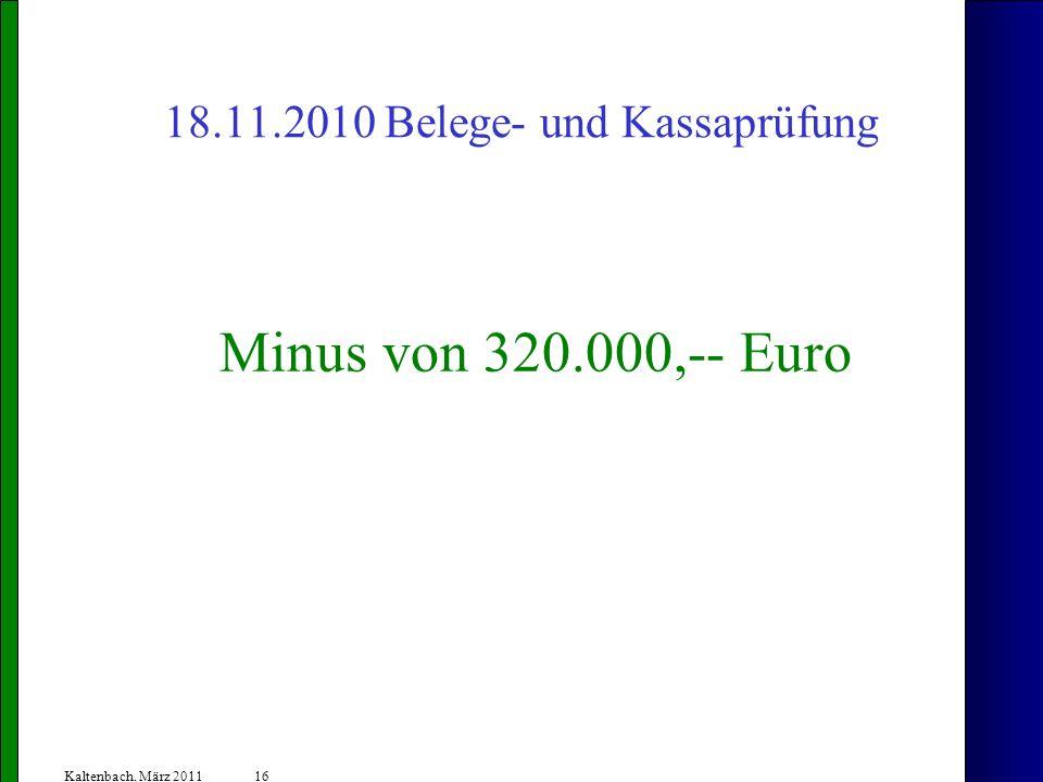 18.11.2010 Belege- und Kassaprüfung