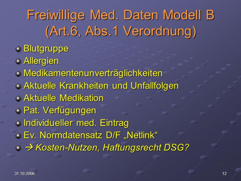 Freiwillige Med. Daten Modell B (Art.6, Abs.1 Verordnung)