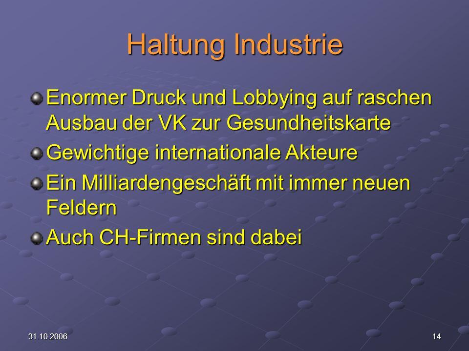 Haltung Industrie Enormer Druck und Lobbying auf raschen Ausbau der VK zur Gesundheitskarte. Gewichtige internationale Akteure.