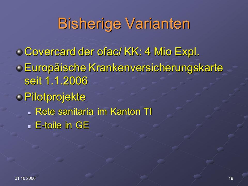 Bisherige Varianten Covercard der ofac/ KK: 4 Mio Expl.