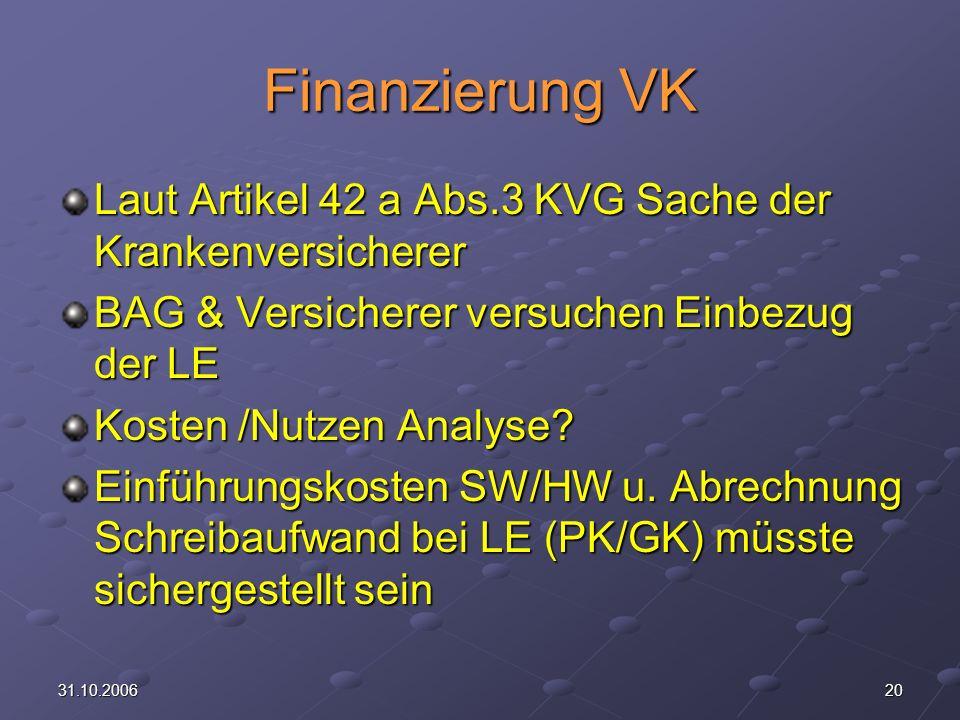 Finanzierung VK Laut Artikel 42 a Abs.3 KVG Sache der Krankenversicherer. BAG & Versicherer versuchen Einbezug der LE.
