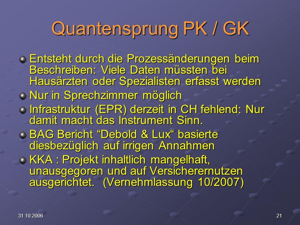 Quantensprung PK / GK Entsteht durch die Prozessänderungen beim Beschreiben: Viele Daten müssten bei Hausärzten oder Spezialisten erfasst werden.