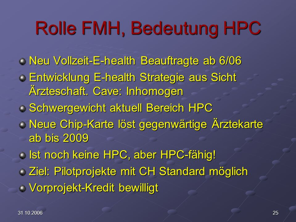Rolle FMH, Bedeutung HPC
