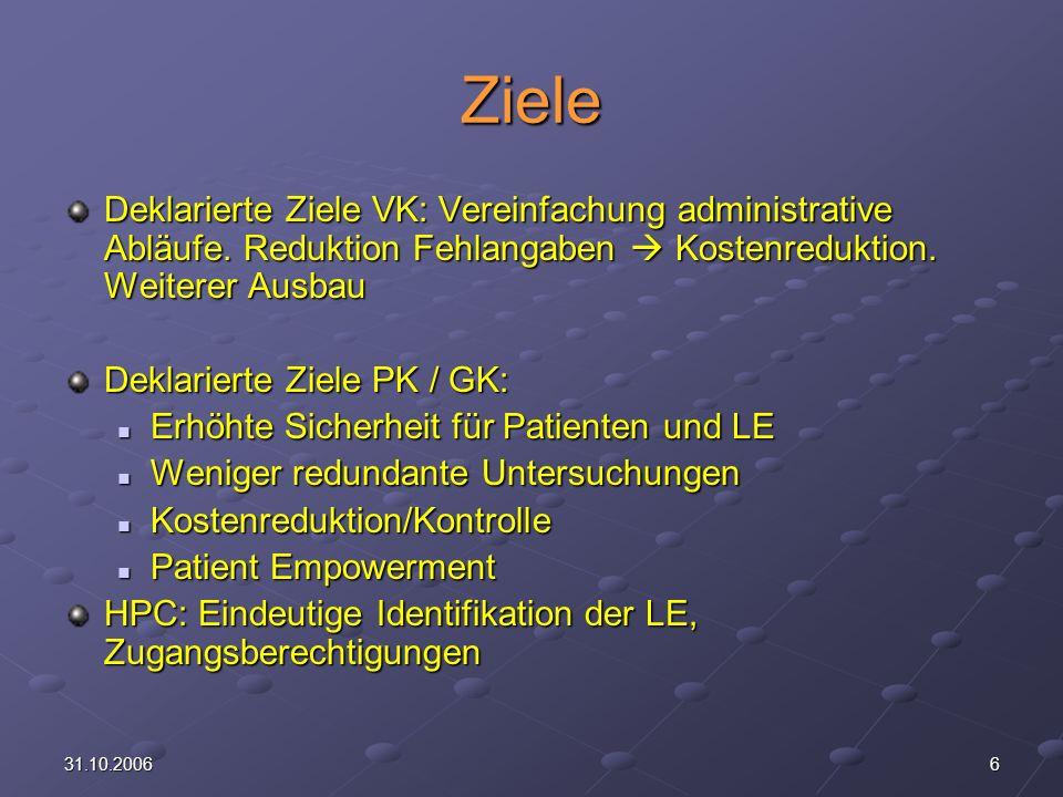 Ziele Deklarierte Ziele VK: Vereinfachung administrative Abläufe. Reduktion Fehlangaben  Kostenreduktion. Weiterer Ausbau.
