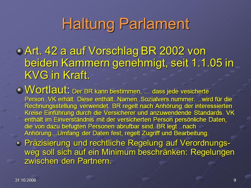 Haltung Parlament Art. 42 a auf Vorschlag BR 2002 von beiden Kammern genehmigt, seit 1.1.05 in KVG in Kraft.