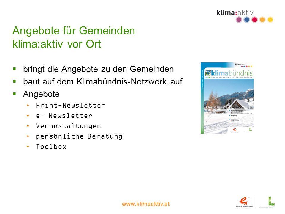 Angebote für Gemeinden klima:aktiv vor Ort