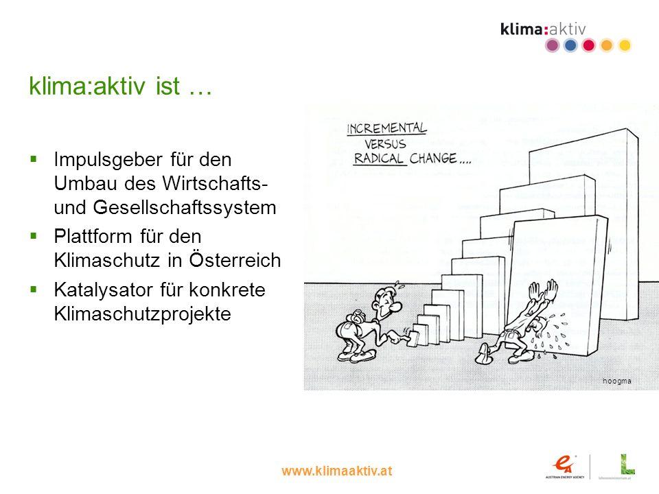 klima:aktiv ist … Impulsgeber für den Umbau des Wirtschafts- und Gesellschaftssystem. Plattform für den Klimaschutz in Österreich.