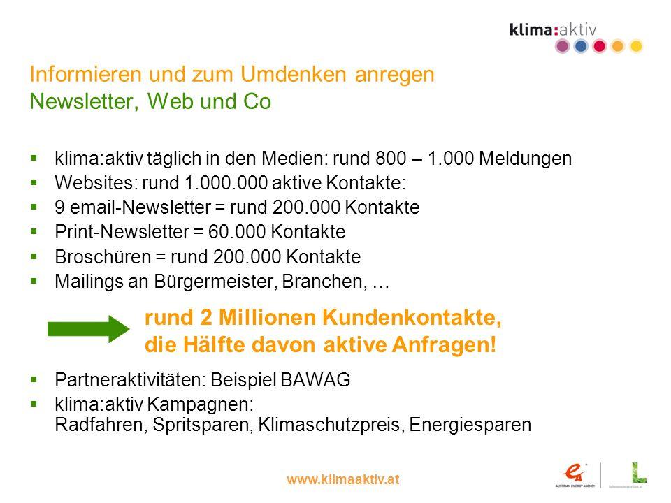 Informieren und zum Umdenken anregen Newsletter, Web und Co