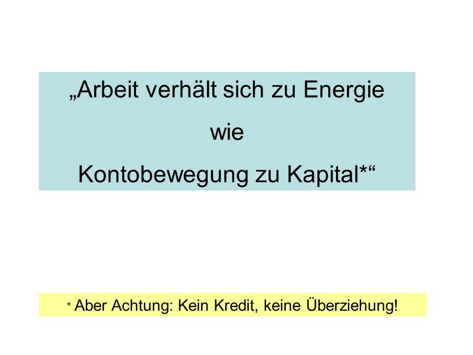 """""""Arbeit verhält sich zu Energie wie Kontobewegung zu Kapital*"""