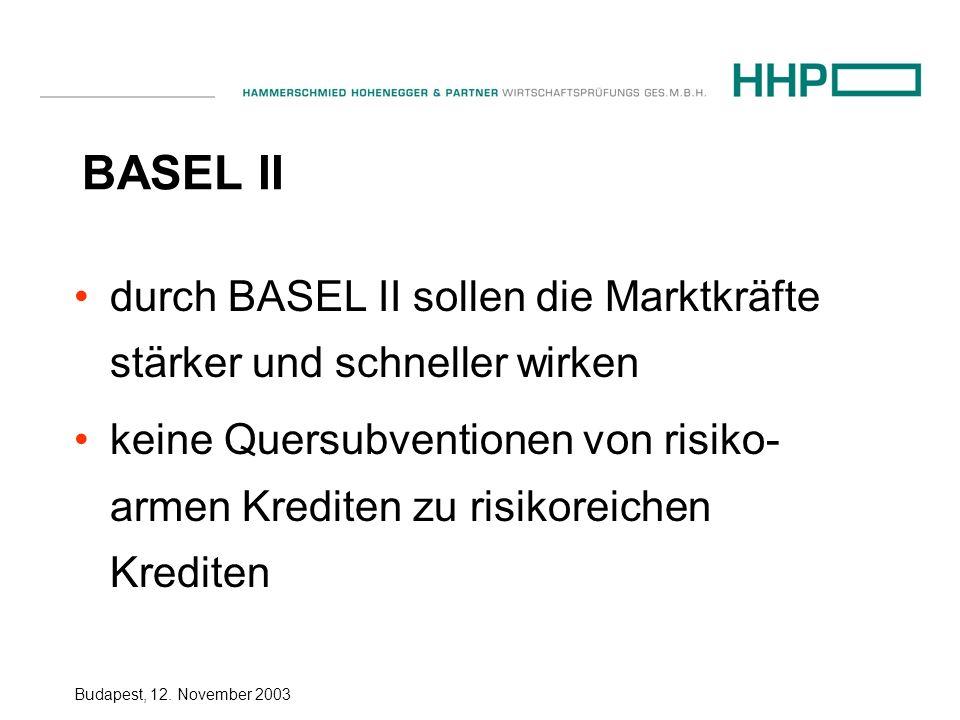 BASEL II durch BASEL II sollen die Marktkräfte stärker und schneller wirken.