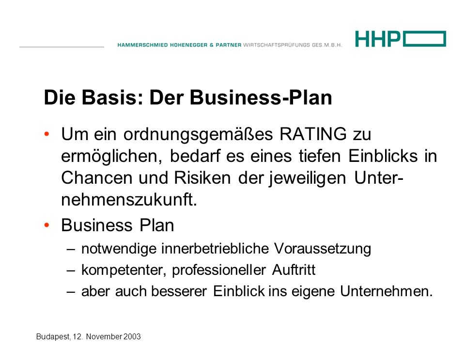 Die Basis: Der Business-Plan