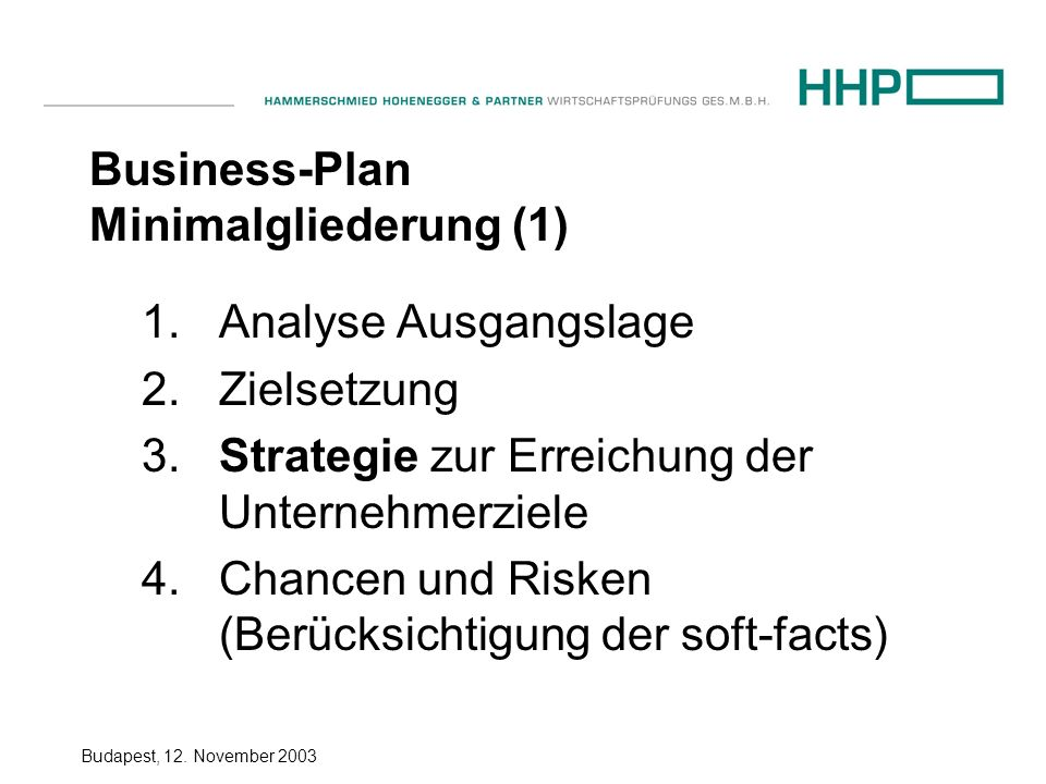 Business-Plan Minimalgliederung (1)