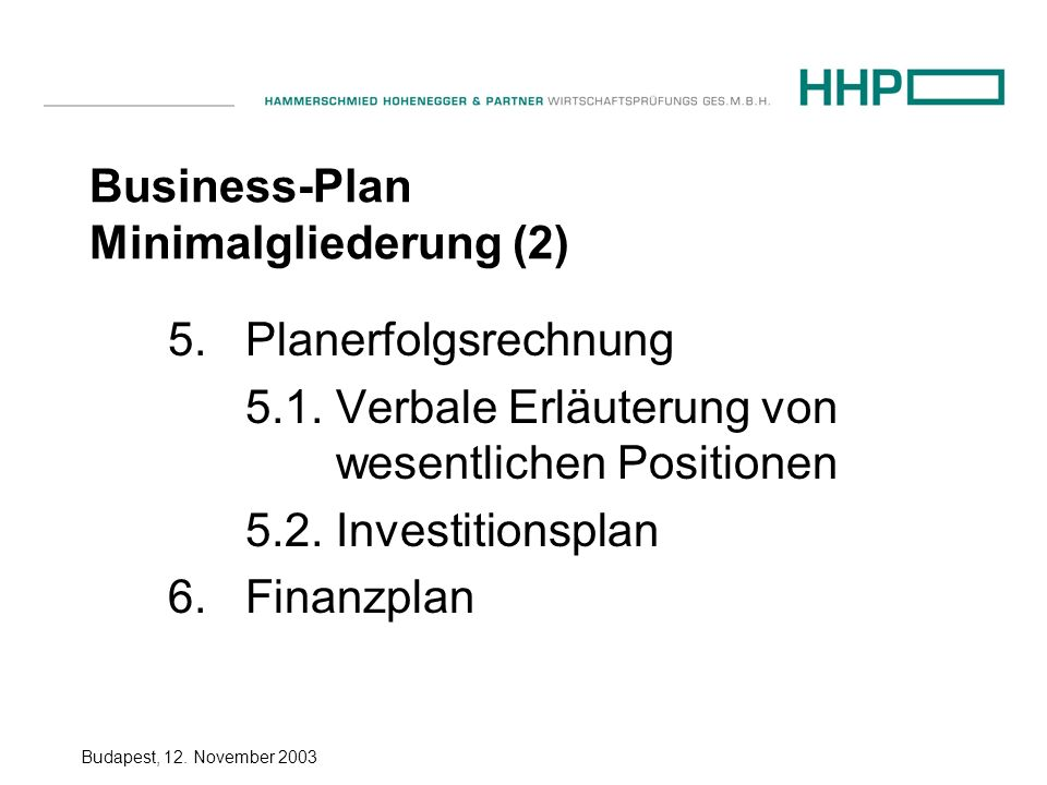 Business-Plan Minimalgliederung (2)