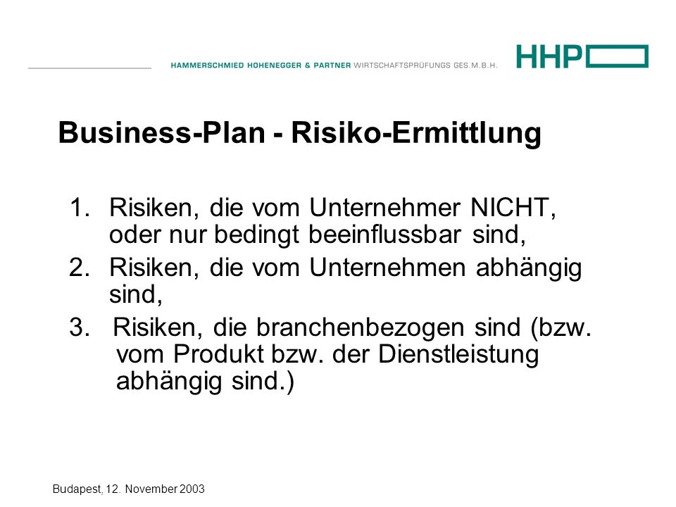 Business-Plan - Risiko-Ermittlung