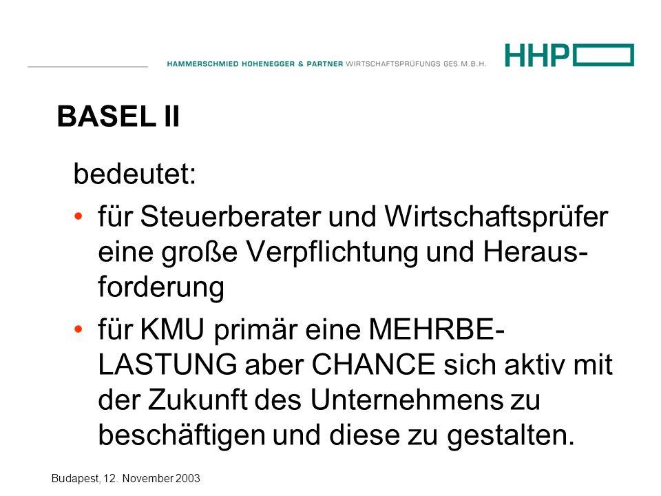 BASEL II bedeutet: für Steuerberater und Wirtschaftsprüfer eine große Verpflichtung und Heraus-forderung.