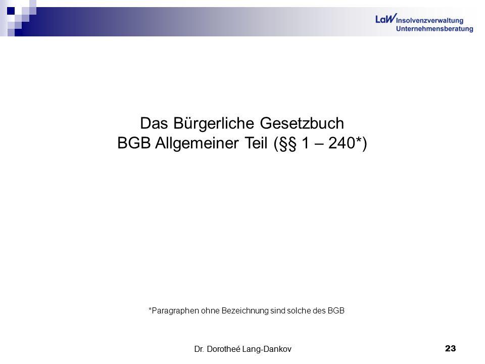 Das Bürgerliche Gesetzbuch BGB Allgemeiner Teil (§§ 1 – 240*)