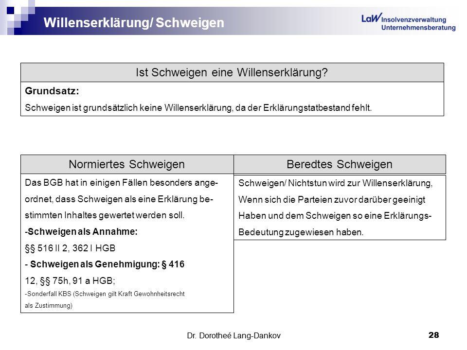 Willenserklärung/ Schweigen
