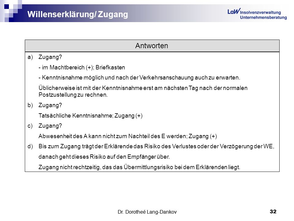 Willenserklärung/ Zugang