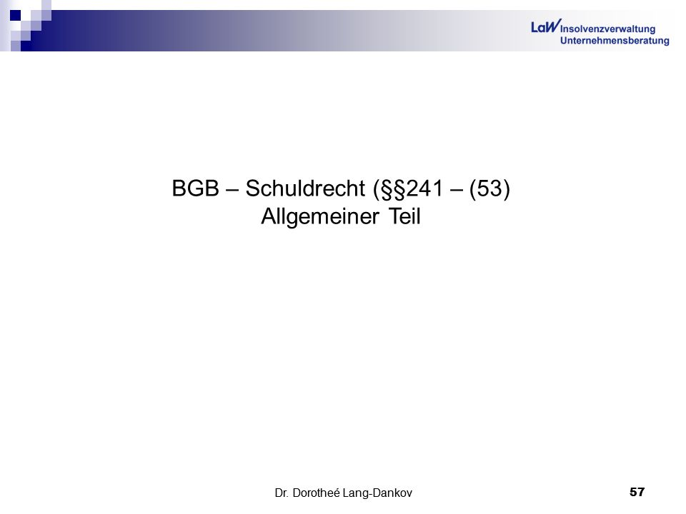 BGB – Schuldrecht (§§241 – (53) Allgemeiner Teil