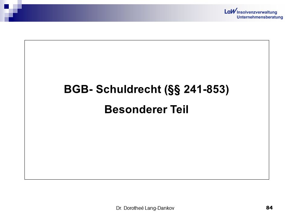 BGB- Schuldrecht (§§ 241-853)