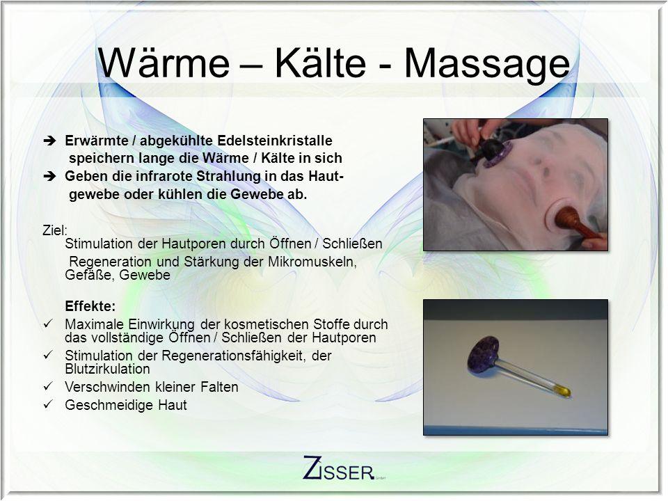 Wärme – Kälte - Massage Erwärmte / abgekühlte Edelsteinkristalle