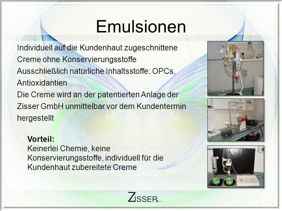 Emulsionen Individuell auf die Kundenhaut zugeschnittene