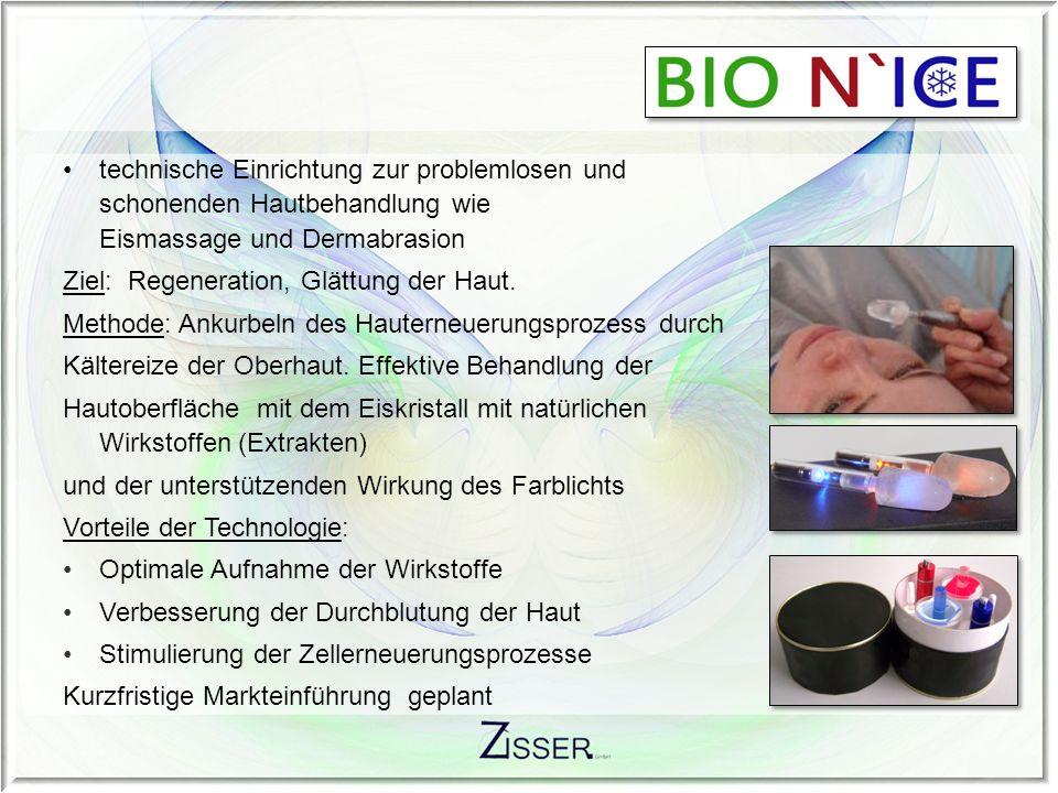 technische Einrichtung zur problemlosen und schonenden Hautbehandlung wie Eismassage und Dermabrasion