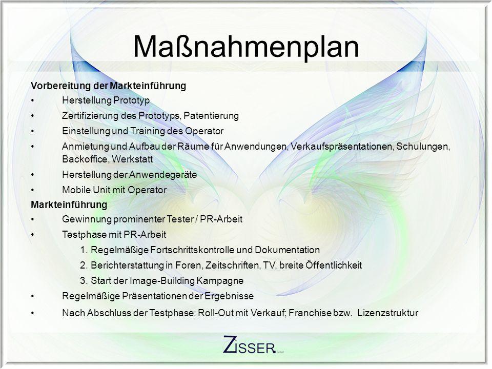 Maßnahmenplan Vorbereitung der Markteinführung Herstellung Prototyp