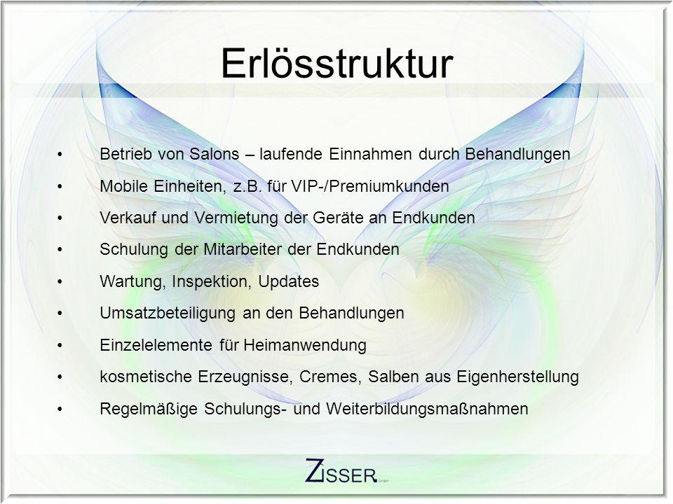 Erlösstruktur Betrieb von Salons – laufende Einnahmen durch Behandlungen. Mobile Einheiten, z.B. für VIP-/Premiumkunden.
