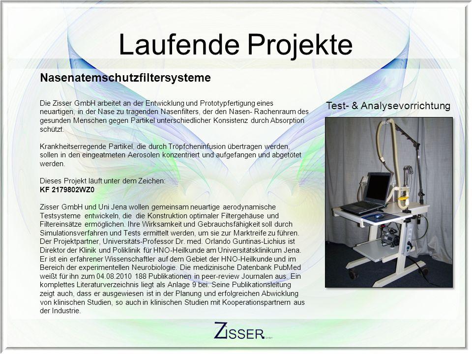 Laufende Projekte Nasenatemschutzfiltersysteme