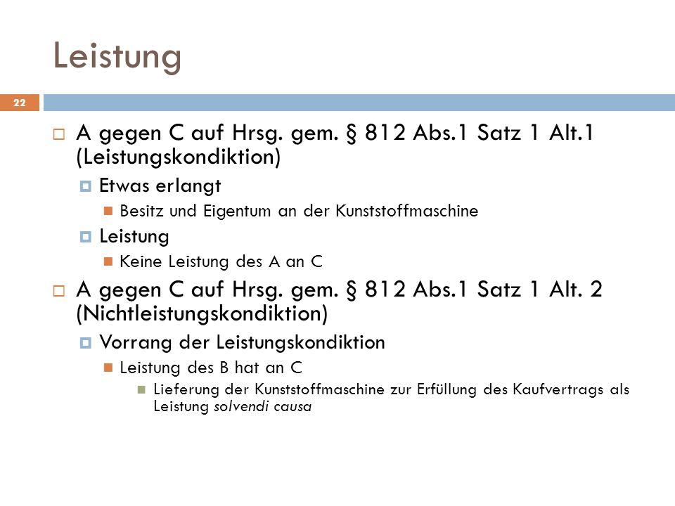 Leistung A gegen C auf Hrsg. gem. § 812 Abs.1 Satz 1 Alt.1 (Leistungskondiktion) Etwas erlangt. Besitz und Eigentum an der Kunststoffmaschine.