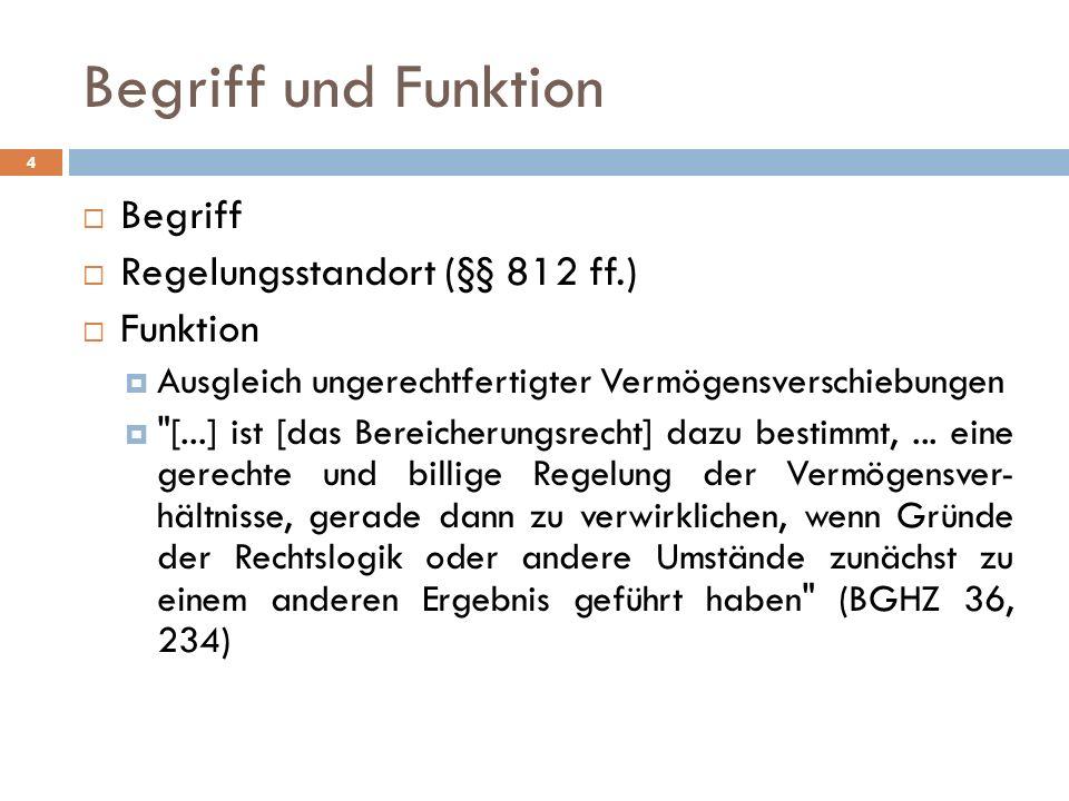 Begriff und Funktion Begriff Regelungsstandort (§§ 812 ff.) Funktion