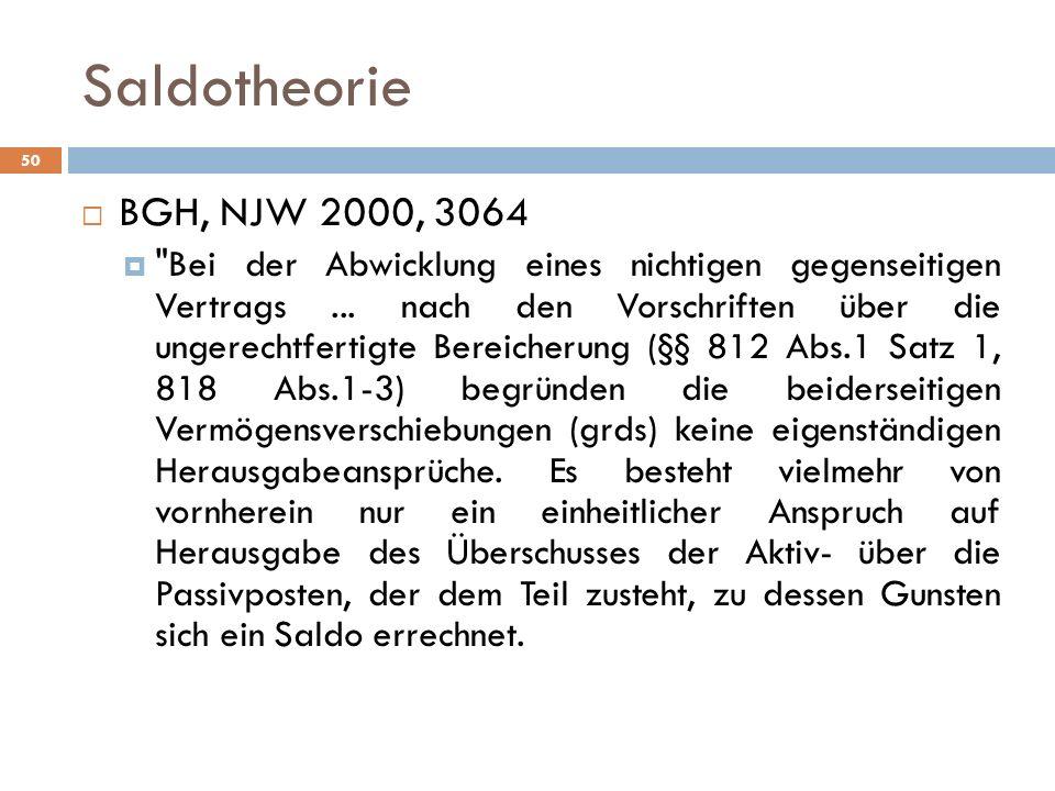 Saldotheorie BGH, NJW 2000, 3064.