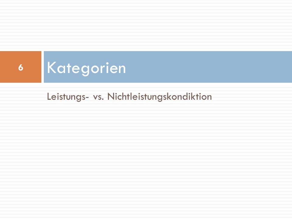 Kategorien Leistungs- vs. Nichtleistungskondiktion