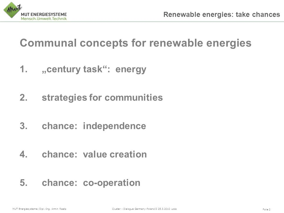 Communal concepts for renewable energies